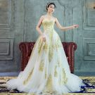 Luxury / Gorgeous A-Line / Princess Wedding Dresses 2017 Sweetheart Sleeveless White Organza Gold Lace Backless Ruffle Court Train