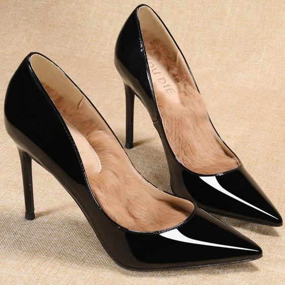 Mode Schwarz Ball Pumps 2020 Lackleder 10 cm Stilettos Spitzschuh Pumps