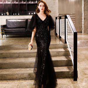 Élégant Noire Robe De Soirée 2019 Trompette / Sirène V-Cou 1/2 Manches Glitter Paillettes Longue Dos Nu Robe De Ceremonie