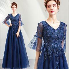 Elegant Navy Blue Prom Dresses 2019 A-Line / Princess V-Neck Beading Crystal Lace Flower Appliques 1/2 Sleeves Backless Floor-Length / Long Formal Dresses