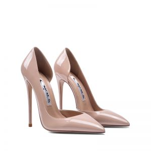 Classy Beige Evening Party Womens Shoes 2020 Patent Leather 10 cm Stiletto Heels Pointed Toe High Heels