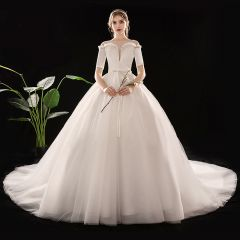 Modest / Simple Ivory See-through Wedding Dresses 2019 Ball Gown Square Neckline 1/2 Sleeves Backless Sash Cathedral Train Ruffle