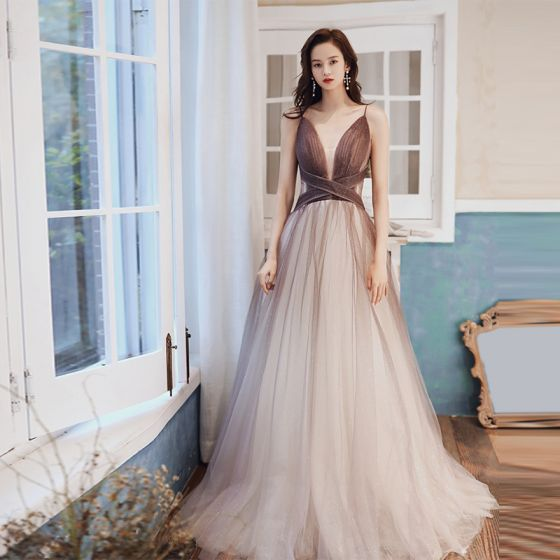 Sexy Braun Farbverlauf Abendkleider 2020 A Linie Durchsichtige Tiefer V-Ausschnitt Ärmellos Glanz Tülle Lange Rüschen Rückenfreies Festliche Kleider
