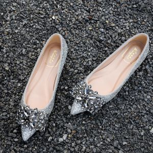 Sparkly Silver Wedding Shoes 2018 Crystal Rhinestone Sequins Leather Pointed Toe Platform Pumps