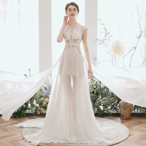 Illusion Ivory Chiffon Summer Bridal Wedding Dresses 2020 A-Line / Princess Scoop Neck Sleeveless Appliques Lace Beading Court Train Ruffle