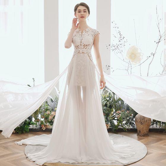 Illusion Ivory Chiffon Summer Bridal Wedding Dresses 2020 A-Line / Princess Scoop Neck Sleeveless Appliques Lace Beading Court Train Ruffle