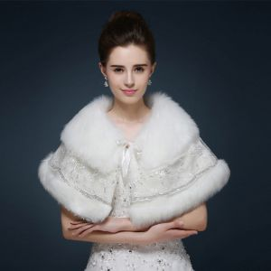 White Winter Glitter Sequins Faux Fur Wedding Prom Shawls 2017