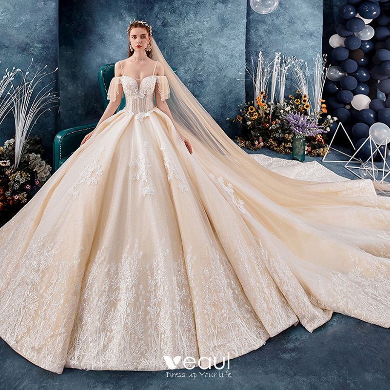 Best Champagne Wedding Dresses 2019 Ball Gown Spaghetti Straps Off The Shoulder Short Sleeve Backless Glitter Tulle Appliques Lace Beading Royal Train