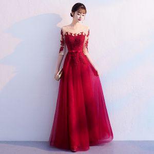 Elegant Burgundy Evening Dresses  2019 A-Line / Princess Scoop Neck Bow Lace Flower 1/2 Sleeves Backless Floor-Length / Long Formal Dresses