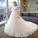 Chic / Beautiful Ivory Wedding Dresses 2018 Ball Gown Lace Appliques V-Neck Backless 1/2 Sleeves Chapel Train Wedding