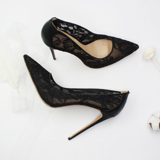 Sexy Black Lace Evening Party Pumps 2020 12 cm Stiletto Heels Pointed Toe Pumps