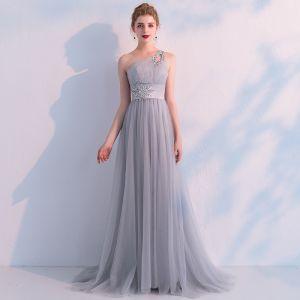 Elegant Grey Evening Dresses  2019 Empire One-Shoulder Sleeveless Rhinestone Sweep Train Backless Ruffle Formal Dresses