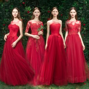 Elegant Red Bridesmaid Dresses 2019 A-Line / Princess Appliques Lace Beading Floor-Length / Long Ruffle Wedding Party Dresses