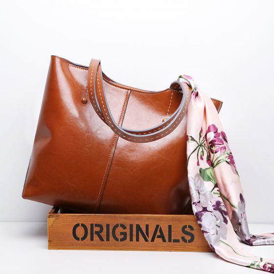 Schlicht Braun Quadratische Handtasche Schultertaschen 2021 Leder Freizeit Damentaschen