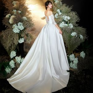 Chic / Beautiful Ivory Satin Outdoor / Garden Wedding Dresses 2020 A-Line / Princess Off-The-Shoulder 3/4 Sleeve Backless Appliques Lace Sweep Train