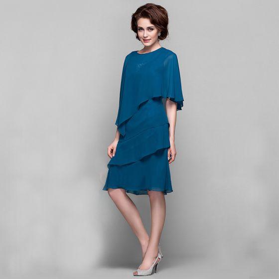 Classique Élégant Bleu D'encre Robe De Mère De Mariée 2020 Princesse Courte U-Cou Fermeture éclair Sans Manches Avec Châle Gonflée Mariage Soirée Robe Pour Mariage