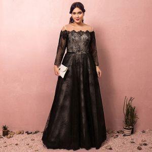 Chic Unique Noire Grande Taille Robe De Soirée 2018 Princesse Lacer U-Cou Tulle Appliques Dos Nu Soirée Robe De Ceremonie