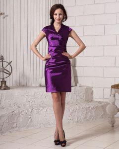 Plisse Col V Cuisse Longueur Taffetas Femmes Robe De Cocktail Simple Et Solide