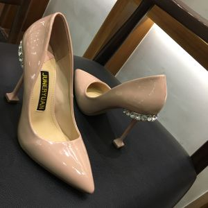 Chic / Beautiful Nude Pumps 2018 Rhinestone Leather 10 cm Stiletto Heels Pointed Toe Patent Leather Pumps