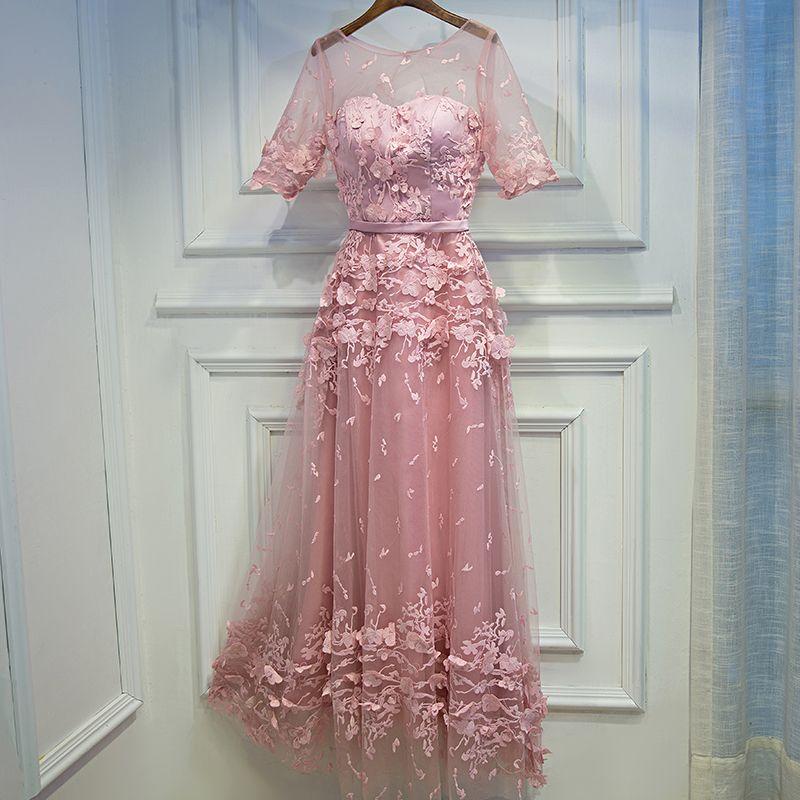 Schön Pink Festliche Kleider 2017 Spitze Blumen Riemchen Rundhalsausschnitt 1/2 Ärmel Wadenlang A Linie Ballkleider