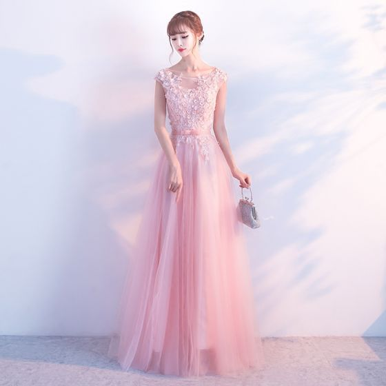 Romantic Candy Pink Evening Dresses  2018 A-Line / Princess Lace Flower Appliques Rhinestone Scoop Neck Floor-Length / Long Sleeveless Backless Formal Dresses