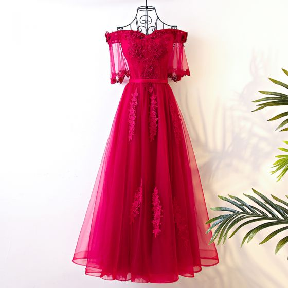 Chic / Beautiful Red Evening Dresses  2017 A-Line / Princess Lace Flower Off-The-Shoulder Short Sleeve Ankle Length Evening Party