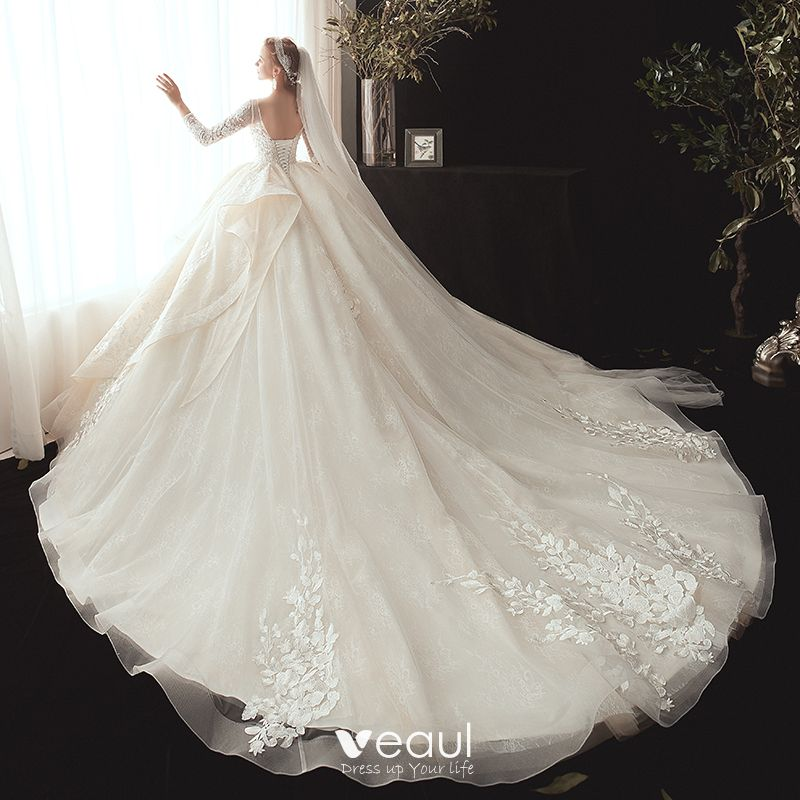 Best Ball Gown Wedding Dresses: Best Champagne Wedding Dresses 2020 Ball Gown V-Neck 3/4