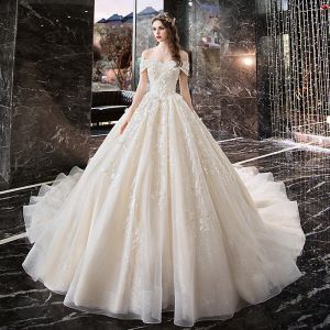 Elegant Ivory Wedding Dresses 2019 A-Line / Princess Off-The-Shoulder Beading Appliques Lace Flower Short Sleeve Backless Royal Train