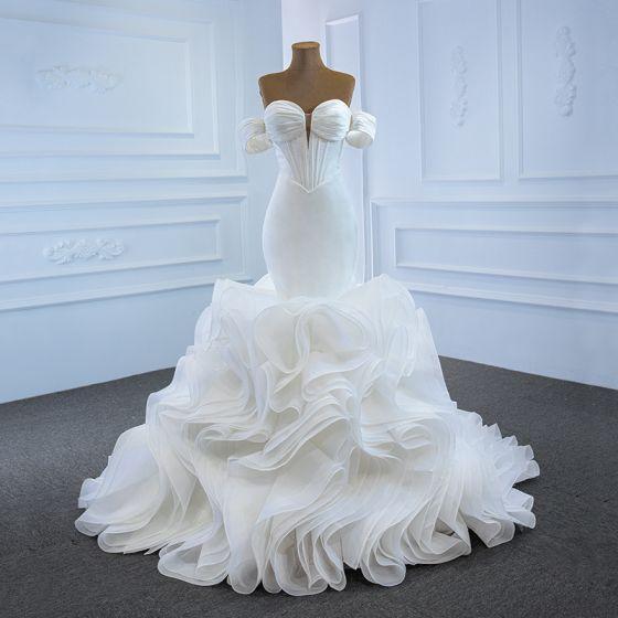 High End Weiß Hochzeits Brautkleider / Hochzeitskleider 2020 Meerjungfrau Herz-Ausschnitt Abnehmbar Kurze Ärmel Rückenfreies Hof-Schleppe Rüschen