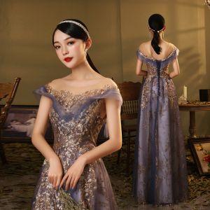 Elegante Königliches Blau Tanzen Ballkleider 2020 A Linie Durchsichtige Rundhalsausschnitt Kurze Ärmel Pailletten Lange Rüschen Rückenfreies Festliche Kleider