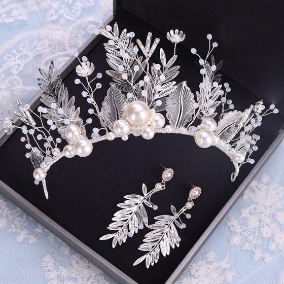 Amazing / Unique Silver Bridal Jewelry 2019 Metal Crystal Pearl Leaf Tiara Earrings Wedding Accessories