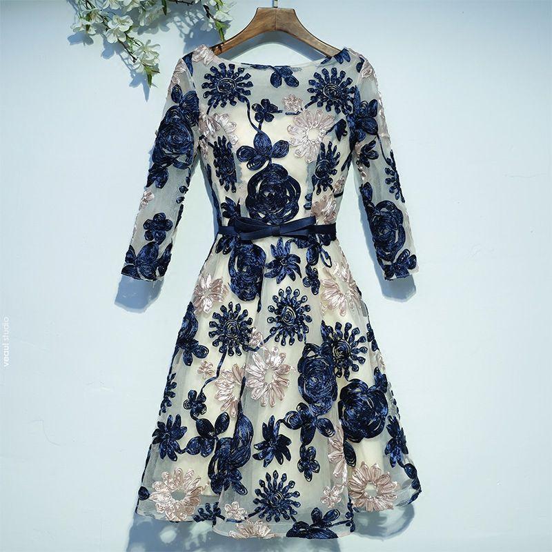 Elegant Formal Dresses Graduation Dresses 2017 Lace Flower Bow Scoop Neck Knee-Length 3/4 Sleeve A-Line / Princess