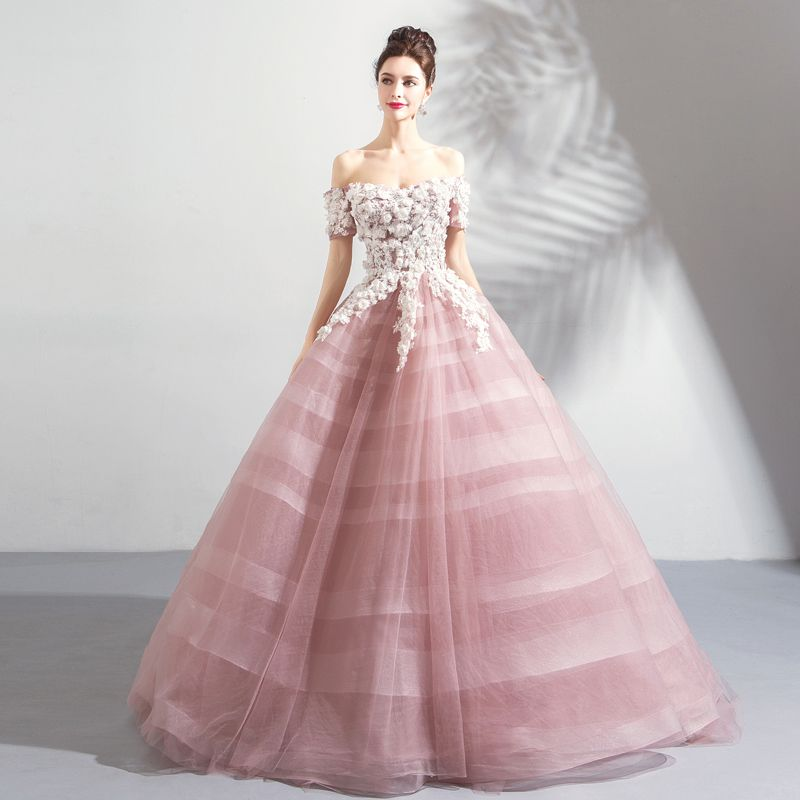 Elegant Blushing Pink Prom Dresses 2018 Ball Gown Lace Flower Appliques Pearl Sequins Off-The-Shoulder Backless Short Sleeve Floor-Length / Long Formal Dresses