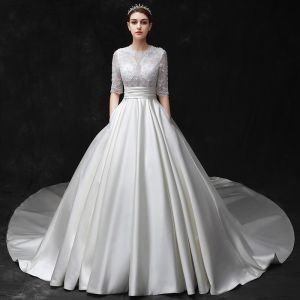 Modest / Simple Ivory Wedding Dresses 2017 Scoop Neck 1/2 Sleeves Shoulders Beading Satin Wedding Backless Ball Gown Cathedral Train