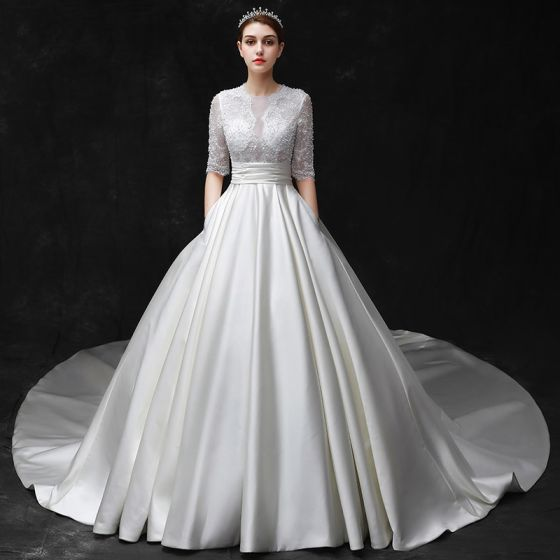 Modest Simple Ivory Wedding Dresses 2017 Scoop Neck 1 2 Sleeves Shoulders Beading Satin Backless