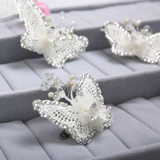 Hvid Sommerfugl Rhinestone Brude Hovedklæde / Hoved Blomst / Bryllup Hårpynt / Bryllup Smykker