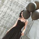 Simple Moderne / Mode Noire Robe De Soirée 2019 Princesse Encolure Dégagée Sans Manches Longue Robe De Ceremonie