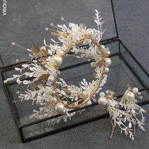 Piękne Złote Tiara Kolczyki Biżuteria Ślubna 2020 Stop Perła Rhinestone Liść Ślub Akcesoria