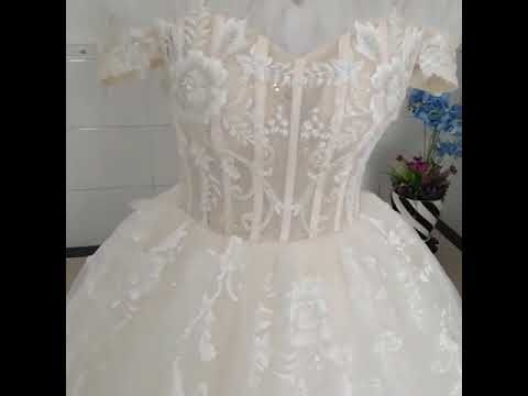 Chic / Beautiful Champagne Wedding Dresses 2019 Ball Gown Off-The-Shoulder Short Sleeve Backless Glitter Tulle Appliques Lace Beading Pearl Chapel Train Ruffle