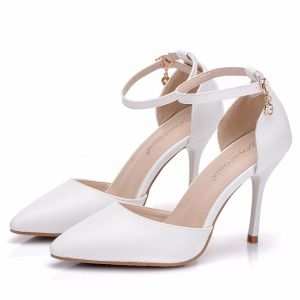 Modest / Simple White Casual Womens Shoes 2018 Ankle Strap 8 cm Stiletto Heels Pointed Toe High Heels