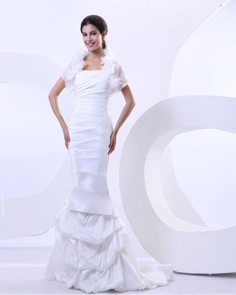 Taffeta Pleat Chapel Train Mermaid Wedding Dress