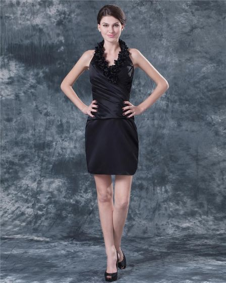 Taffeta Ruffle Knee Length Mothers of Bride Guests Dresses