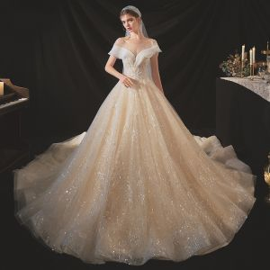 Chic / Beautiful Champagne Bridal Wedding Dresses 2020 Ball Gown See-through Scoop Neck Short Sleeve Backless Appliques Lace Sequins Beading Crystal Chapel Train Ruffle