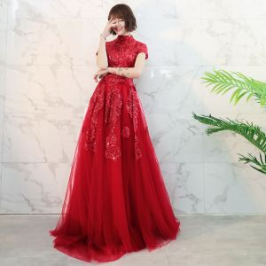 Chinese style Red Prom Dresses 2018 A-Line / Princess High Neck Short Sleeve Appliques Lace Glitter Sequins Court Train Ruffle Backless Formal Dresses