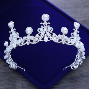 Luxury / Gorgeous Silver Wedding Tiara 2018 Metal Crystal Pearl Rhinestone Accessories