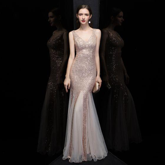 Glitzernden Rose Gold Pailletten Abendkleider 2020 Meerjungfrau V-Ausschnitt Ärmellos Lange Rüschen Rückenfreies Festliche Kleider