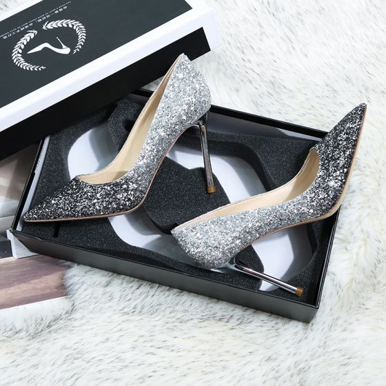 Glitter Zilveren Zwarte Bruidsschoenen 2019 Leer Pailletten 10 cm Naaldhakken / Stiletto Spitse Neus Huwelijk Pumps