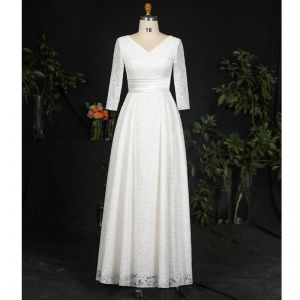 Classic Elegant Ivory Plus Size Wedding Dresses 2020 A-Line / Princess V-Neck Floor-Length / Long Lace Satin Long Sleeve Checked Embroidered Solid Color Wedding