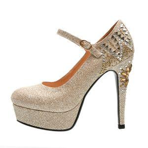 Chic / Belle Doré Chaussure De Mariée 2019 Cuir Faux Diamant Paillettes Bride Cheville 12 cm Talons Aiguilles À Bout Pointu Mariage Escarpins