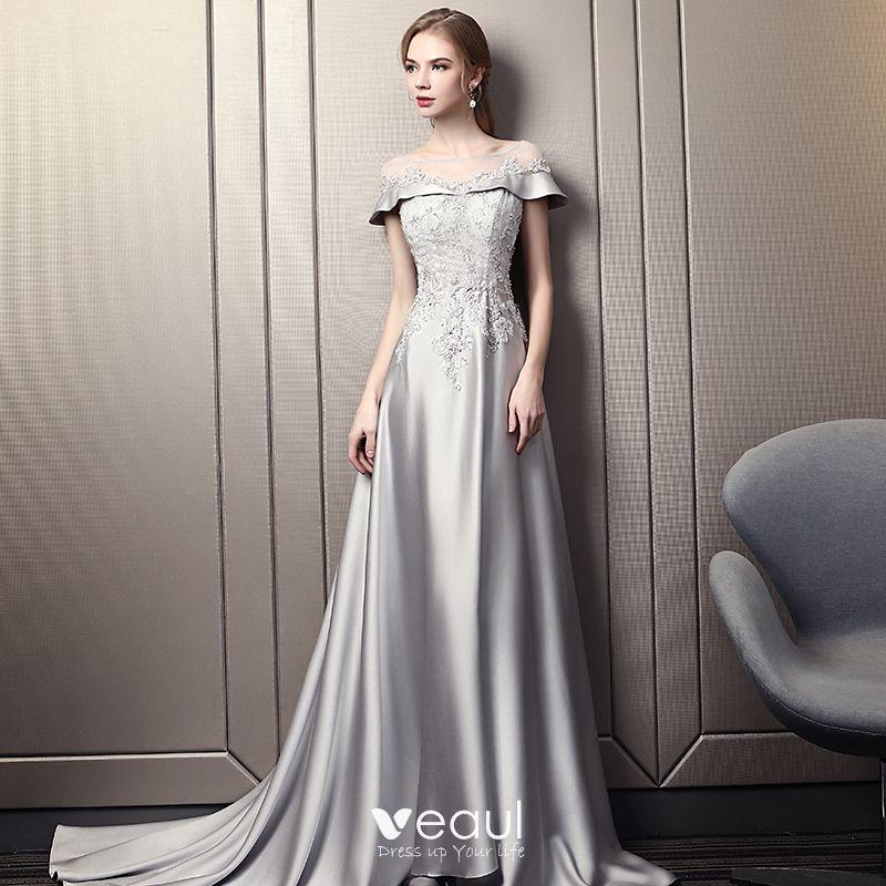 Mode Grau Abendkleider 2018 Empire Eckiger Ausschnitt ...